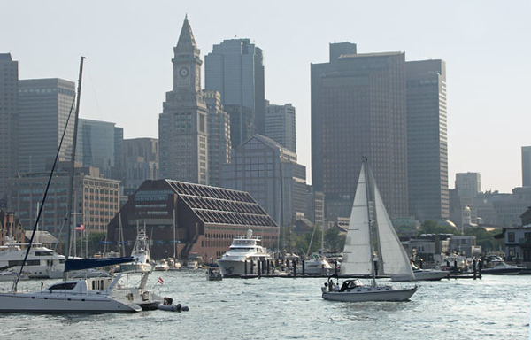 Boston Harbor, Long Wharf. On Land and by Sea